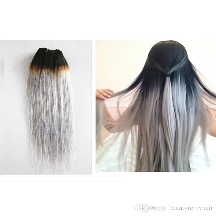 Hot sale t1bgrey ombre human hair extensions 1b grey hair with hot sale t1bgrey ombre human hair extensions 2pcs 1b grey hair with closure two tone ombre brazilian grey hair weave pmusecretfo Images