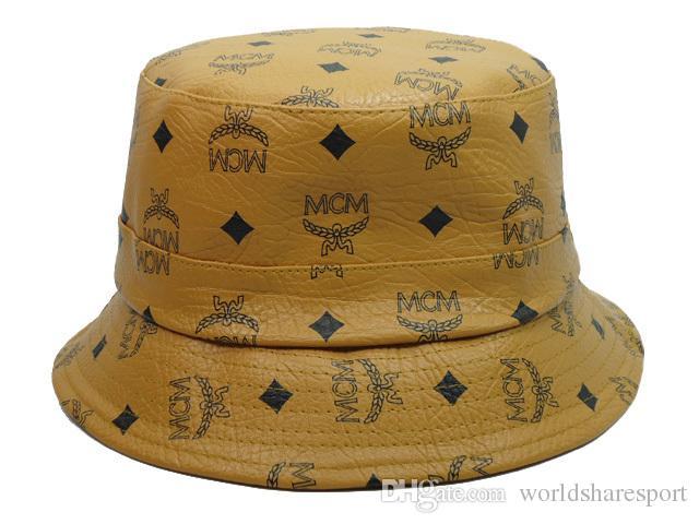 Brown Leather MCM Bucket Hats For Men Women Wide Brim Hats ...