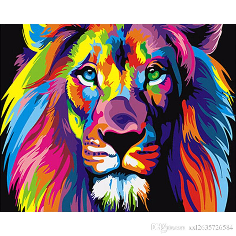 Colorful Lions Animals DIY Digital Oil Painting By Numbers Abstract Drawing 40X50cm Figure Acrylic Canvas Diy