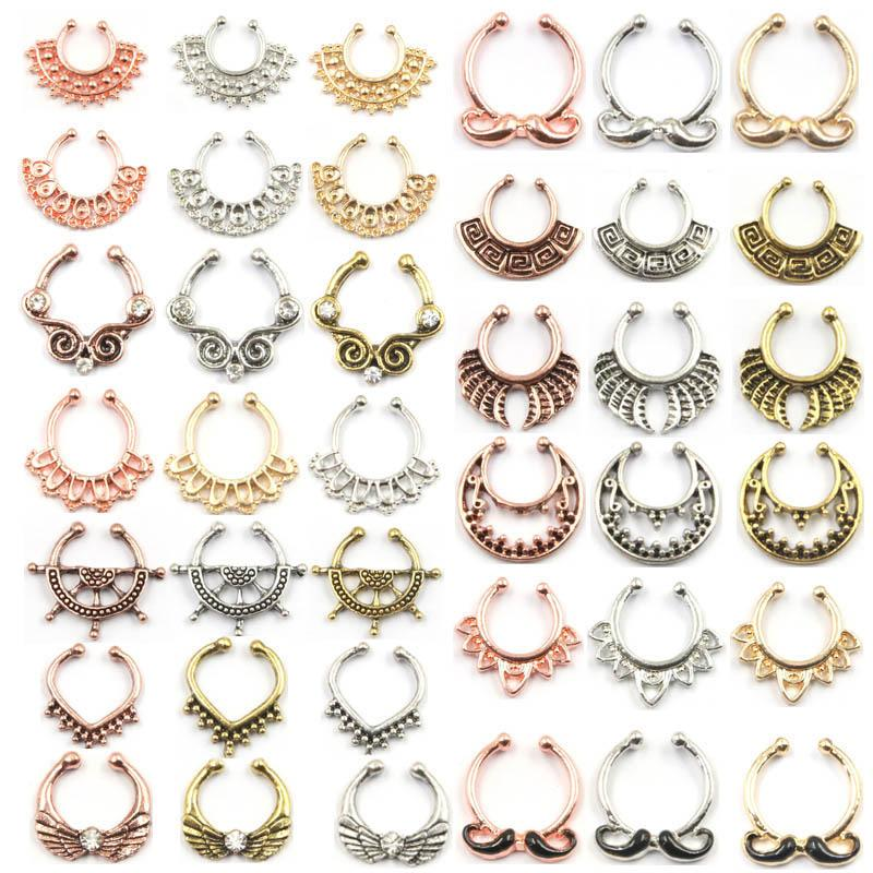 100pcs Mixed New Summer style rose gold fake nose ring septum clip piercing silver indian nose rings and studs women body jewelry