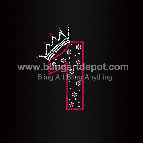 Number One Rhinestone Heat Transfers Crown Hotfix Motifs For Clothes ... b57646f42ad9