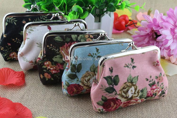 Creation Vintage Flower Coin Purse Canvas Key Holder Wallet Hasp/Buckles Small Gifts Bag Clutch Handbag Bank Card Casual Bag ZJ-T09