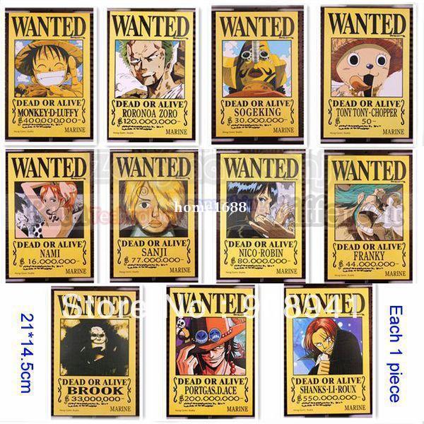 Japan Luffy Anime One Piece Arrest Warrant Poster Wall Scroll Luff Nami Zoro Sanji Brook Robin Wanted 21x14cm Custom Sizes