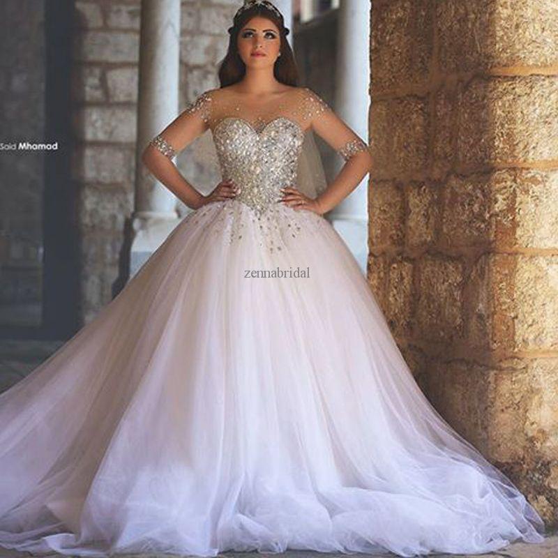 2016 New Fashion Wedding Dresses Princess Waist Top Sparkly Beading ...