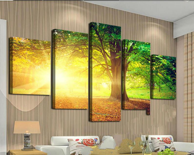 Wholesale Framed Art Trees Among Yellow Sun And Green Large Hd Top Rated  Canvas Print Painting For Living Room, Wall Art Picture F/759 By  Chen365601001 ...