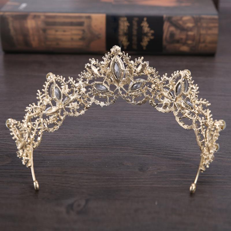 Luxe Couronne De Mariée Étincelle Strass Cristaux Roayal Couronnes De Mariage Cristal De Voile Bandeau Cheveux Accessoires Parti Diadèmes Baroque chic