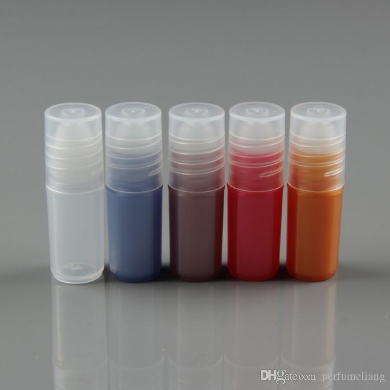 3ml 빈 플라스틱 롤 에센셜 오일 향수 병 포장 용기 롤러 튜브 블루 레드 옐로우 무료 배송
