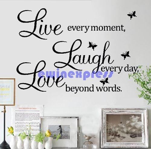 إزالة لايف اضحك الحب اقتباس الحائط ملصقات فراشة الفينيل صائق ديكور المنزل جديد نوعية جيدة فريشيب الساخن بيع