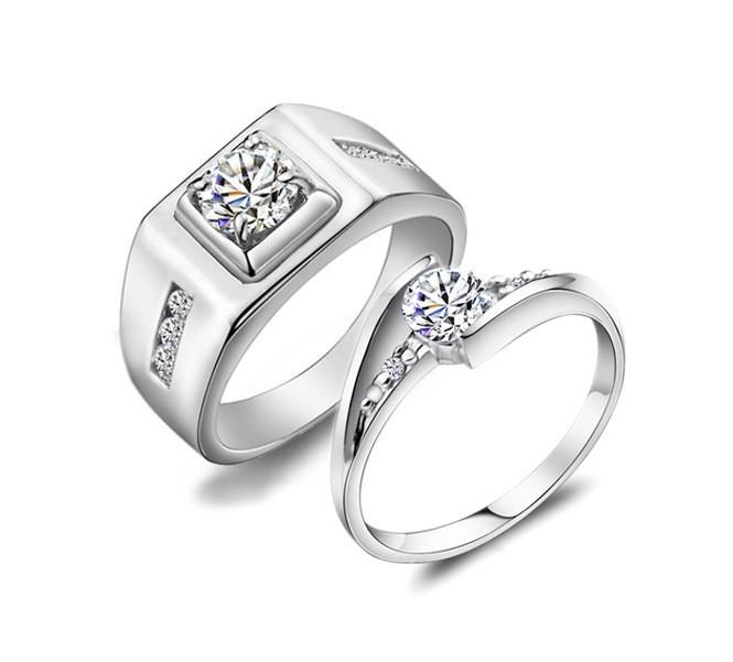 2018 2015 New Fashion Couple Ring 18k White Gold Plated Couple