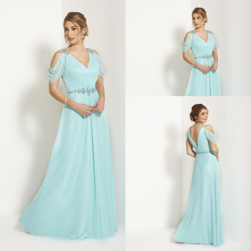 Elegant A Line V Neck Light Blue Mother Of The Bride Dresses Formal ...