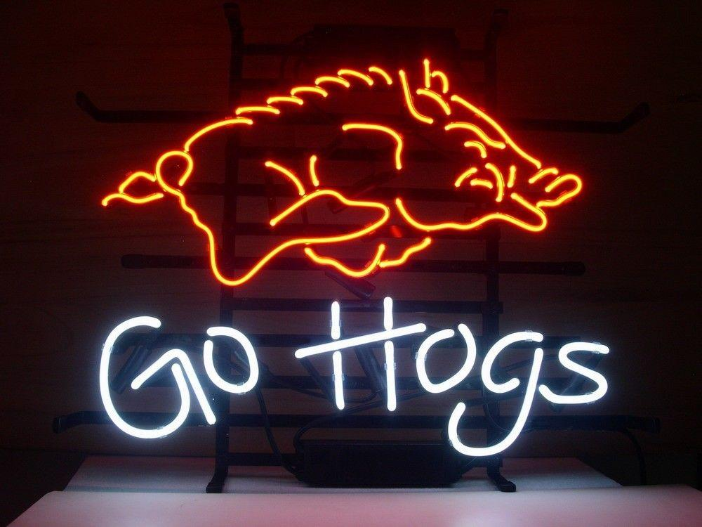 2018 new arkansas razorbacks go hogs neon sign real glass tube beer bar pub neon light sign store display from happyshoping2009 10049 dhgatecom