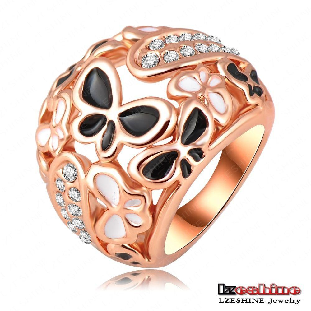 Big Ring Costume Jewelry Real 18k Rose Gold Plating Beautiful Enamel