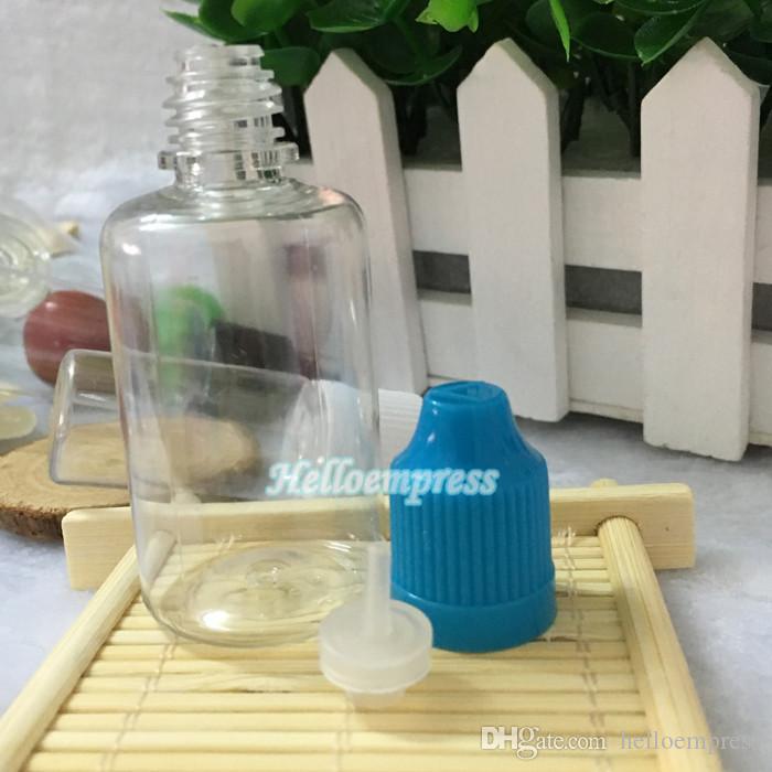 Горячая продажа ПЭТ 30 мл бутылки для электронной жидкости с красочными ребенка доказательство крышкой и длинной тонкой капельницы сделано в Китае