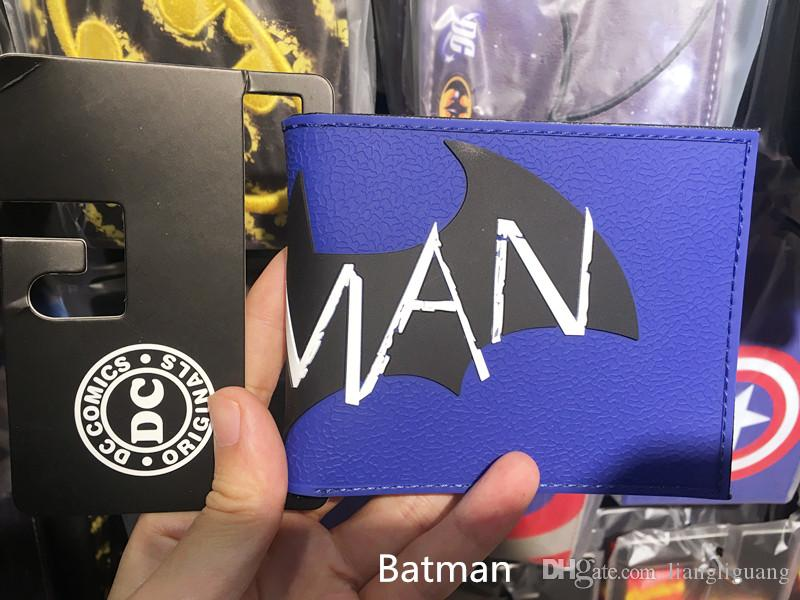 Comics DC Marvel the Avengers Batman Wallets PU Leather Creative Gift Purse Logo Credit Oyster License Card Holder Wallet