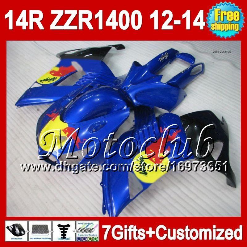Azul amarillo 7gifts Para KAWASAKI NINJA ZZR1400 12 13 12 13 NUEVO Azul rojo 2C541 ZZR-1400 2012 2013 2012 2013 ZZR 1400 ZX14R 12-13 Carenado