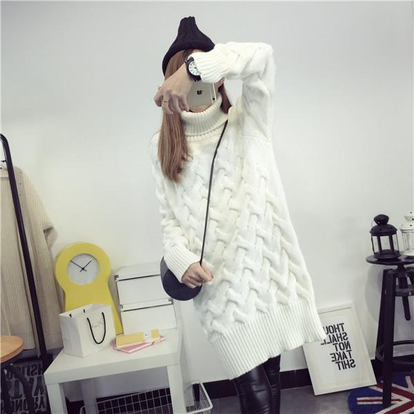 2018 2017 New Women Long Sweater Dress Coat Korean Winter White ...