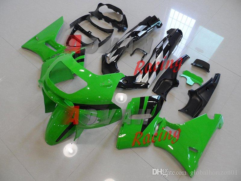 Set di kit di plastica carrozzeria carrozzeria nero verde Kawasaki ZZR400 ZZR 1995-2003 5