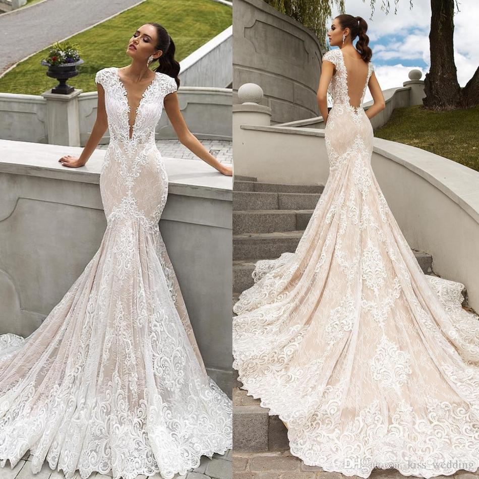 Beach Mermaid Wedding Dresses Lace Applique Backless Bridal Gown Pink With Train