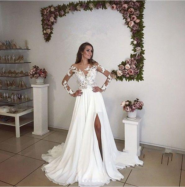 87b254972e Discount Romantic Illusion Long Sleeves Wedding Dresses Split Summer  Bohemian 2018 New Sheer Appliqued Long Bridal Gowns Plus Size Maternity  Wedding Dresses ...