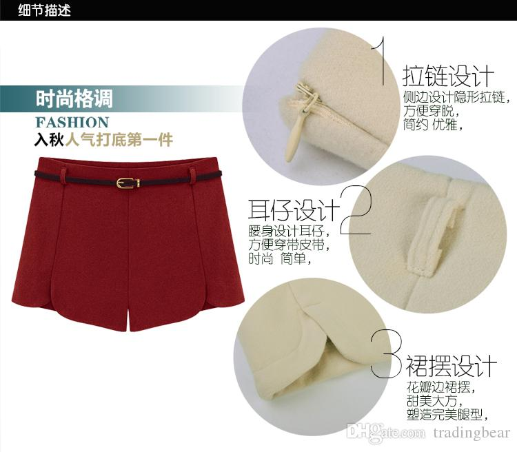 Chic petals A-line high waist shorts wool shorts winter autumn ladies shorts with a belt plus size S M L XL 2XL