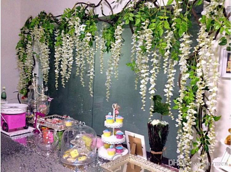 High Quality Artificial White Cherry Blossom Flower Vine Wisteria Plant Home Decorative Silk Flowers For Wedding Birthday Party Decoration