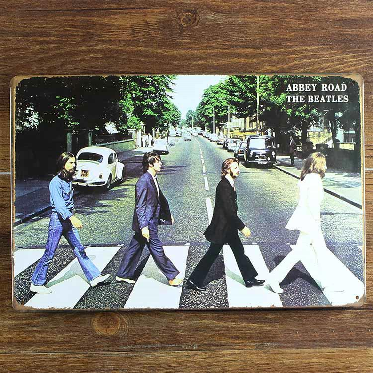 ABBEY ROAD THE BEATLES Decor CAFE BAR Tavern Garage Tin Sign Vintage Metal Painting Home Decor Art Poster Wall Decoration
