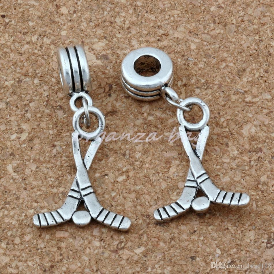 100 قطعة / الوحدة استرخى الفضة القديمة الهوكي العصي الرياضة سحر الحفرة الكبيرة الخرز صالح الأوروبي سحر سوار مجوهرات 16.5x36 ملليمتر