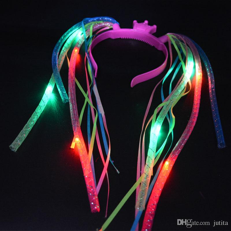 Light-Up Hair Extension Noodle Headband LED Flashing Rave Braid Halloween Props