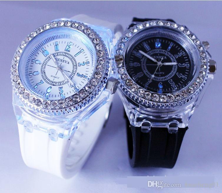 Светодиодные светящиеся Женевские часы Алмаз Кристалл Камень светодиодные часы унисекс силиконовые желе конфеты вспыхивают наручные часы спортивные часы DHL