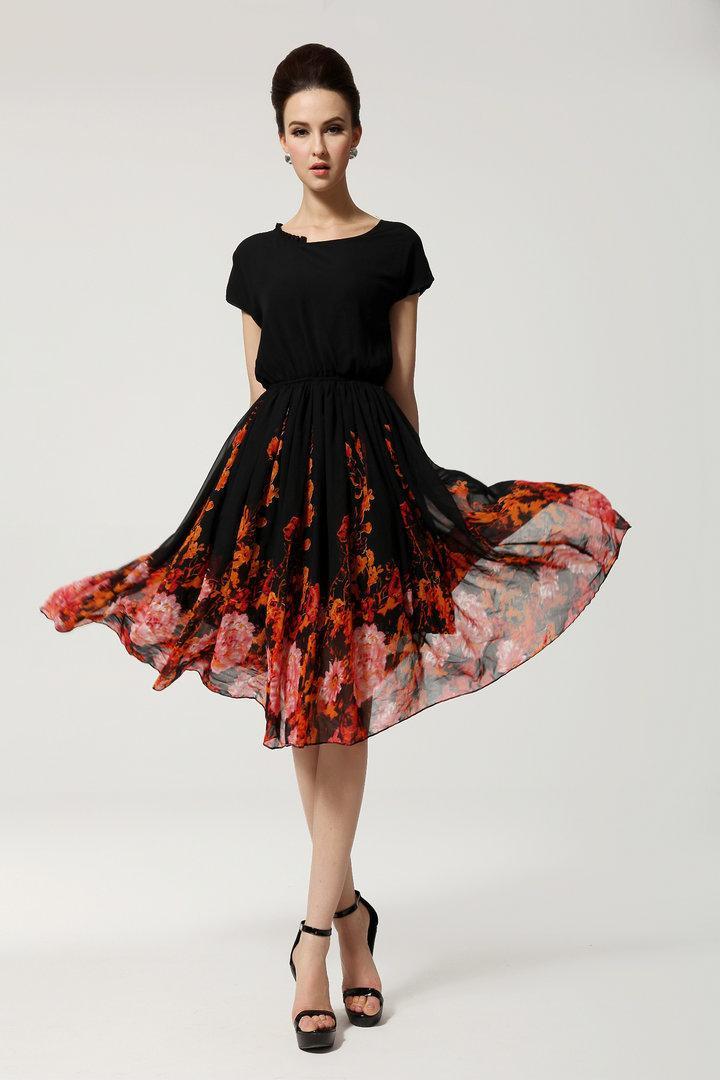 Großhandel 2014 Sommer Blumenkleid Women Fashion Print Abschlussball ...