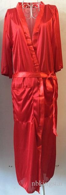 Sexy Femmes Longue Soie Kimono Dressing Robe De Bain Babydoll Lingerie Nightdress