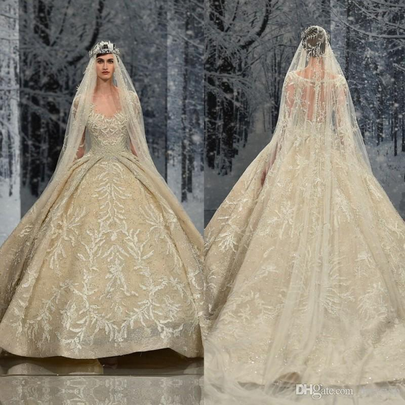 Ziad Nakad Vintage Wedding Dresses Sweep Train Lace Applique Sequins