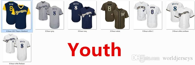 e4b41d57f89 2018 Youth Kids Child Brewers 8 Ryan Braun Baseball Jersey White Navy Blue  Grey Gray Green Salute Players Weekend All Star Team Logo Memorial Day From  ...