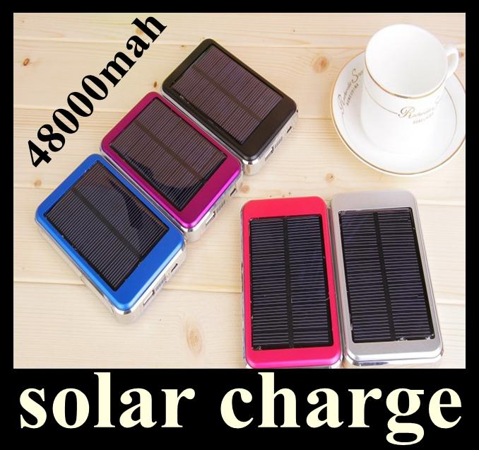 Dual USB Charging Ports 5V 2.1A 1.5W Solar Panel Charger 48000mAh Travel Power Pack Battery power bank for iPhone Samsung HTC ipad