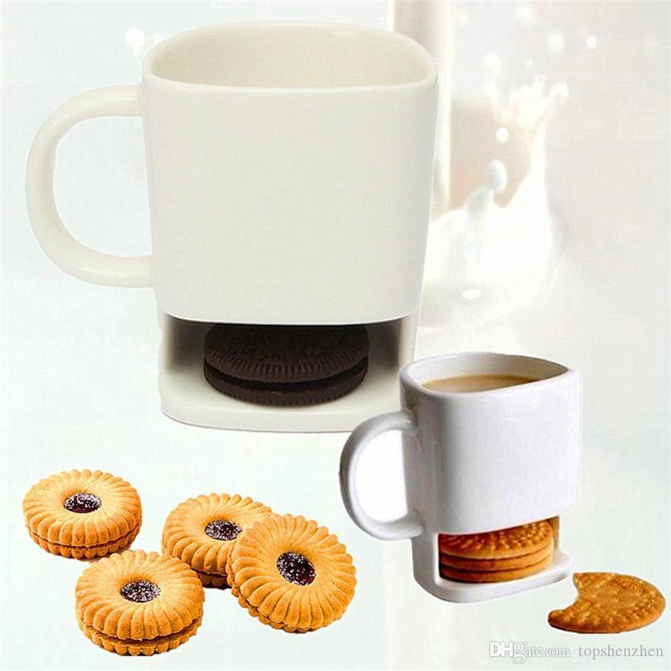 Tazas de cerámica para galletas Galletas de café creativas Leche Taza de postre Tazas de té Tazas de almacenamiento inferiores para galletas Galletas Bolsillos Portavasos Taza