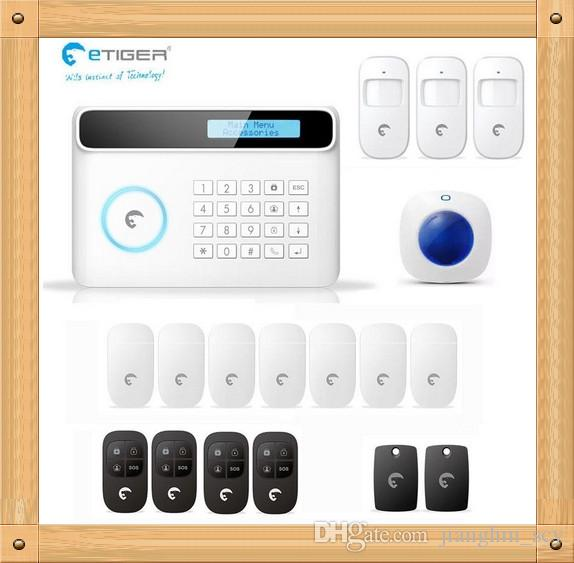 DIY Kit 2015 Newest eTIGER S4 Set Wireless GSM Alarm System 433Mhz Home  Security Protection indoor siren