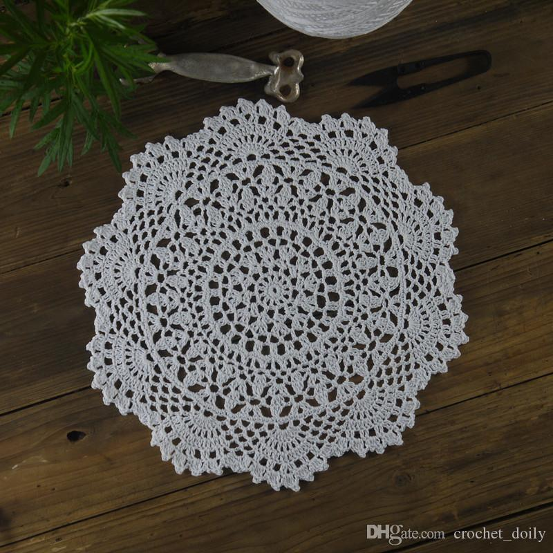 Handmade Crocheted Doilies Table Napkin pad Round Vintage Doilies wedding home decoration Coasters 28cm/11