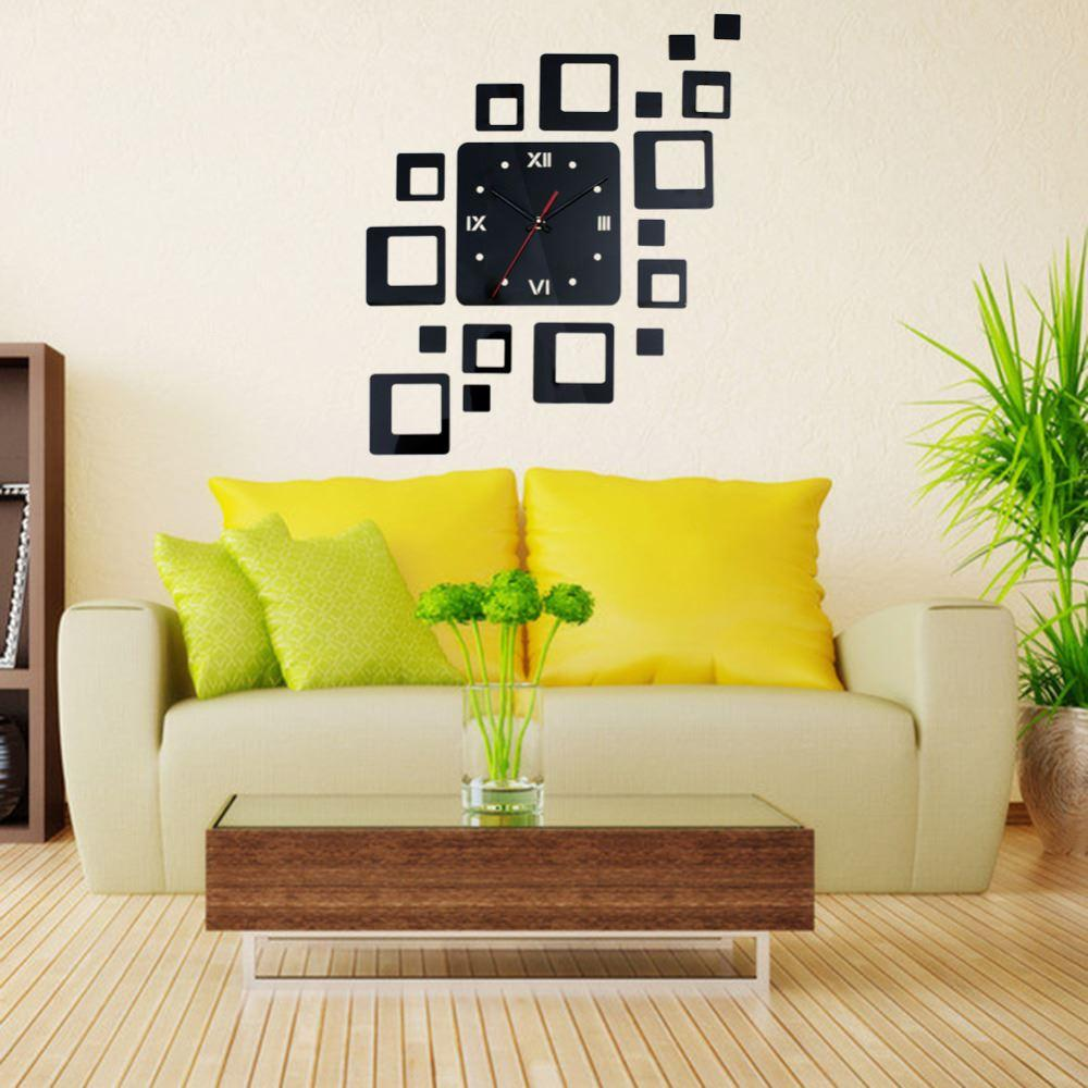 3d Quartz Wall Clocks Mirror Face Acrylic Combination Of Square Wall ...