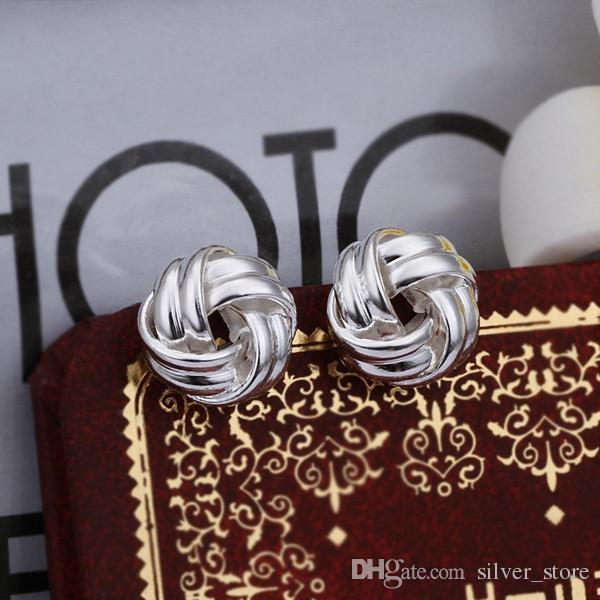 Marka Yeni Gümüş Plaka Dokuma Düğme Tipi Küpe SE377, Kadın 925 Gümüş Dangle Avize Küpe 10 Çift Bir Fabrika Doğrudan