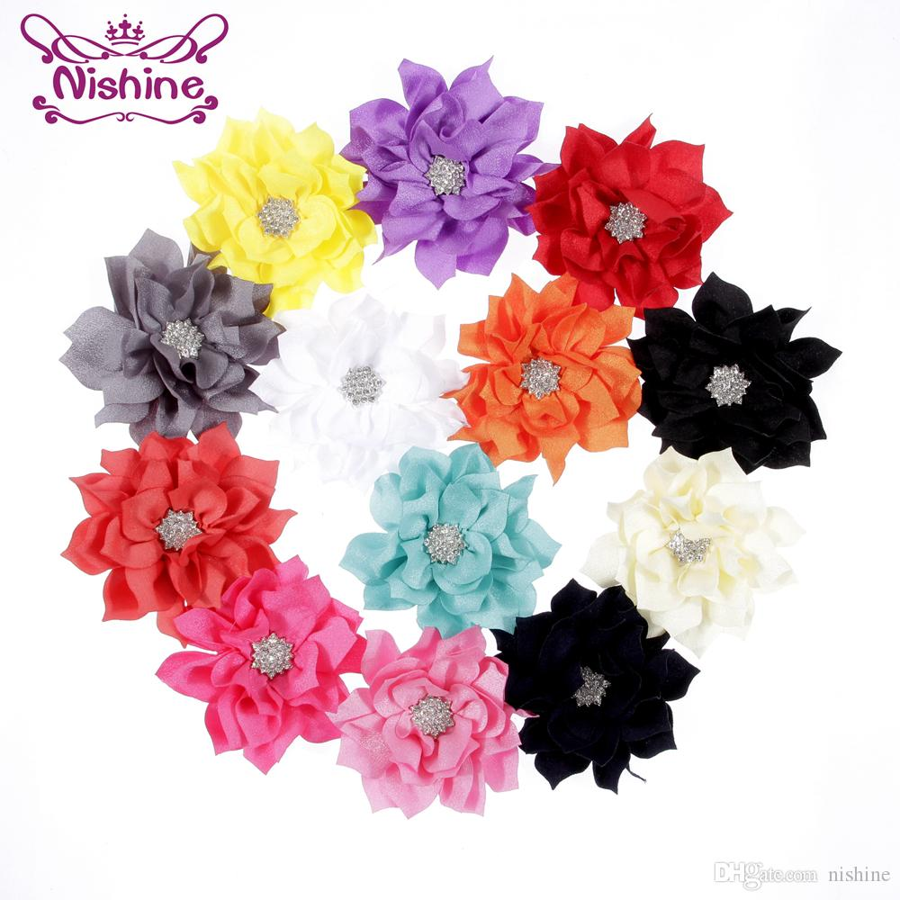 Nishine Chic Flatback Lotus Flower With Star Button Center Use For