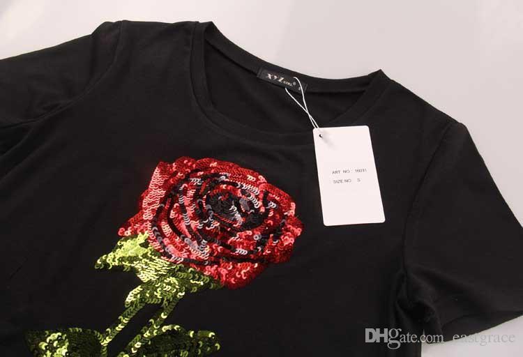2016 새로운 도착 유럽과 미국 스타일의 장미 비즈 조각 자수 숙녀 티셔츠 라운드 칼라 짧은 소매 티셔츠 패션 여자 티셔츠