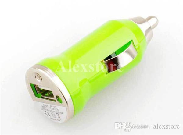 Colorful Bullet Mini USB Cargador de coche Universal Adaptador micro para teléfono celular PDA Reproductor de MP3 móvil ego batería e cig ecig e-cig e-cigarette