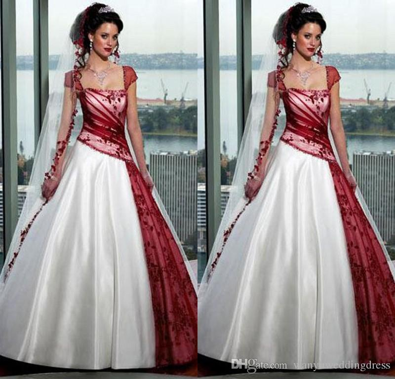 Red And White Gothic Wedding Dresses Square 2015 Fall Plus