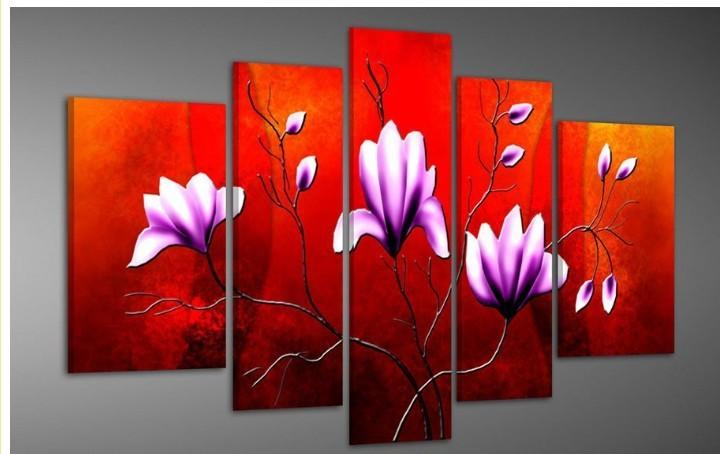 2018 red background flowers abstract oil painting on for Red canvas painting ideas