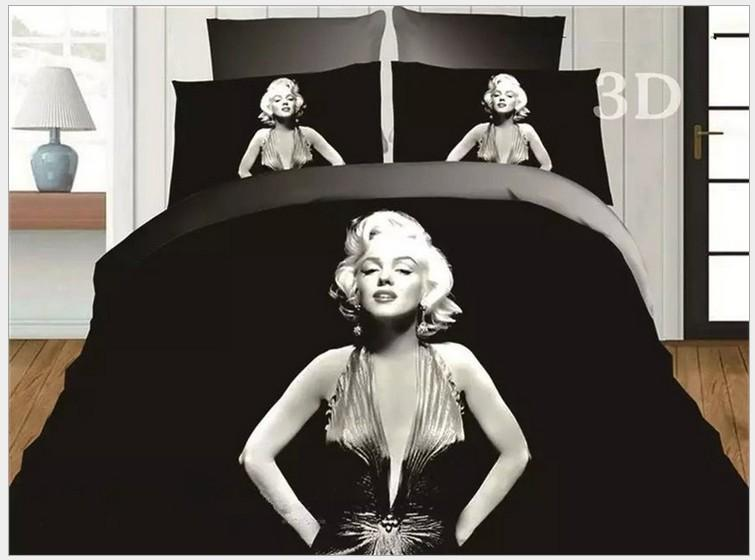 3d Marylin Marilyn Monroe Bedding Set Black And White Quilt Duvet Cover Queen Size Double Sheets Bedspreads Bed Linen Bedsheet Modern Bedding Sets Satin