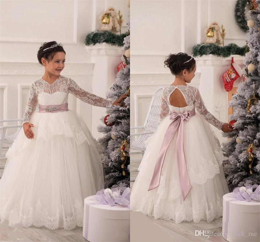 Long Sleeve Flower Girl Dresses Wedding Gowns Bow Sash Beads Peplum White  Lace Pageant Dresses Kids Formal Wear Princess Communion Dresses Shoes For  Girls ... cb802b95592a