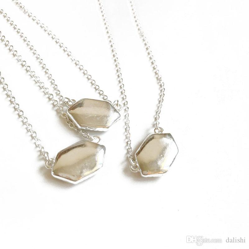 Kendra Druzy Stone Earrings Geometric Color Gemstone Pendant necklace Brass Silver Plating for Lady