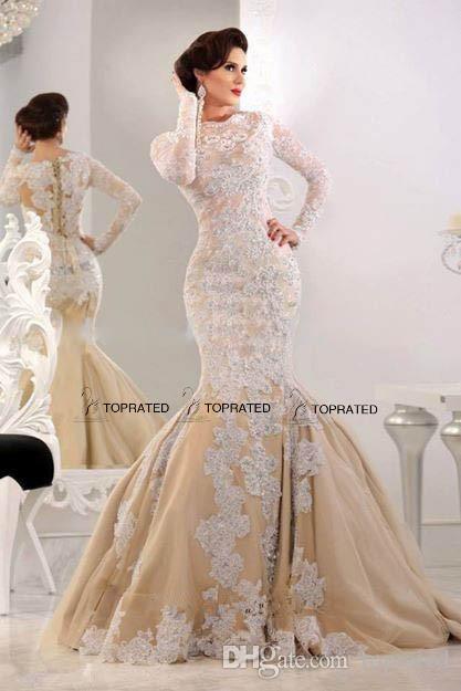 2020 New Dubai Arabic Long Evening Dresses Vestido Long Sleeve Mermaid Guest Gown Appliques Lace Beads Champagne