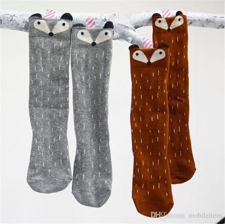 Ropa para niños Baby Girl Leggings Calcetines Calcetines de algodón Ropa de dibujos animados Calcetines Lindo Regalo de Navidad Little Fox Estéreo Ear Algodón Otoño Invierno