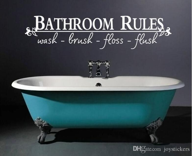 bathroom rules home decoration creative quote wall decals decorative adesivo de parede removable vinyl wall stickers